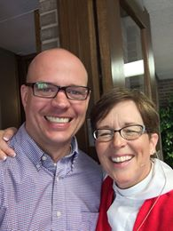 Pastor Chris and me, post-worship at Valley of Peace.